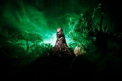 Kvinnlig demon Komma för demoner Slhouette av jäkel eller det gigantiska diagramet på en bakgrund av brand Fasasikt Royaltyfri Bild