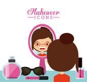 Kvinnlig design för Makeover Arkivfoto