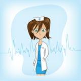Kvinnlig doktor för gullig tecknad film på blå bakgrund arkivbilder