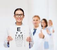 Kvinnlig doktor i glasögon med ögondiagrammet Arkivfoto
