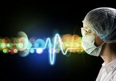 Kvinnlig doktor i skyddande maskering och exponeringsglas Royaltyfri Bild