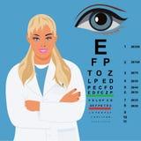 Kvinnlig doktor med ögondiagrammet, ögonläkare, vektorillustration Royaltyfri Bild