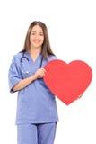 Kvinnlig doktor som rymmer en stor röd hjärta Arkivfoton