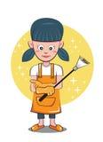Kvinnlig för dammtrasa för kvinnahembiträderengöringsmedel Vektor Illustrationer