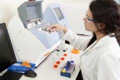 Kvinnlig forskare som gör forskning arkivfoton