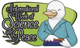Kvinnlig forskareDove Celebrating International vecka av vetenskap och fred, vektorillustration royaltyfri illustrationer