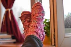 Kvinnlig fot i rosa woolen sockor vid fönstret, för korrigeringsfoto för retro stil tonalt filter Fotografering för Bildbyråer
