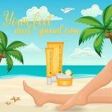 Kvinnlig fot kräm- annons royaltyfri illustrationer