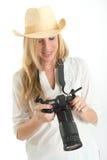 Kvinnlig fotograf Arkivfoton