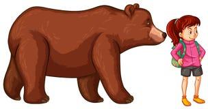 Kvinnlig fotvandrare och Big Bear stock illustrationer