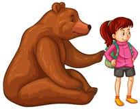 Kvinnlig fotvandrare och grisslybjörn stock illustrationer