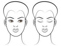 Kvinnlig framsida för öppna och stängda ögon royaltyfri illustrationer