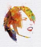 Kvinnlig framsida för Grungeakvarell Royaltyfria Foton
