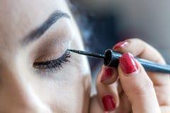 Kvinnlig framsida för smink Ögonbryn, ögon och hår fotografering för bildbyråer