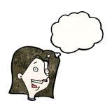 kvinnlig framsida för tecknad film med tankebubblan Royaltyfri Foto