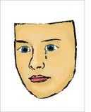 Kvinnlig framsida med blåa ögon, svett och revor vektor illustrationer