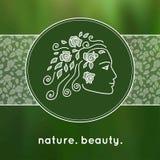 Kvinnlig framsida som en logo i linjär stil Royaltyfri Fotografi
