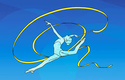 Kvinnlig gymnast med bandet på blå bakgrund Arkivfoton