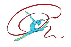 Kvinnlig gymnast med bandet på vit bakgrund Royaltyfria Bilder