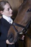 Kvinnlig hästrygg Rider With Horse Arkivfoton