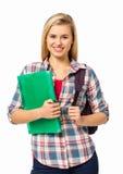 Kvinnlig högskolestudentWith Backpack And mapp Royaltyfri Bild