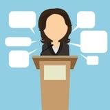 Kvinnlig högtalare med anförandebubblor royaltyfri illustrationer