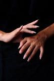 Kvinnlig hand för gest Arkivbild