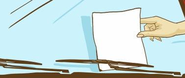 Kvinnlig hand för tecknad film som tar ett ark av papper från en auto vindruta Royaltyfri Bild