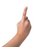 Kvinnlig hand på vit tecken för nummer ett Royaltyfri Fotografi