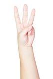 Kvinnlig hand som visar tre fingrar Arkivbilder