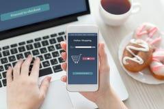 Kvinnlig handinnehavtelefon med online-shopping på skärmen Arkivfoto