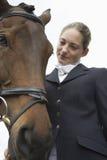 Kvinnlig hästrygg Rider With Horse Arkivbilder