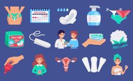 Kvinnlig hygienlägenhetuppsättning stock illustrationer