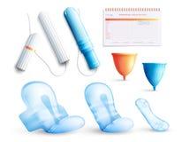 Kvinnlig hygienuppsättning stock illustrationer