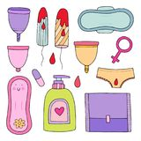 Kvinnlig hygienuppsättning gullig illustration Stock Illustrationer