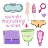 Kvinnlig hygienuppsättning Gullig vektorillustration Royaltyfri Illustrationer