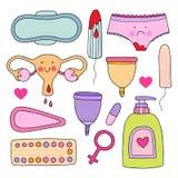 Kvinnlig hygienuppsättning Gullig vektorillustration Stock Illustrationer