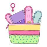 Kvinnlig hygienuppsättning med block Stock Illustrationer