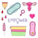 Kvinnlig hygienuppsättning också vektor för coreldrawillustration Royaltyfri Illustrationer