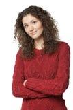 Kvinnlig i tröja med vikta händer Royaltyfria Bilder