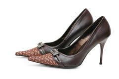 kvinnlig isolerade skor Arkivbild