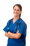 kvinnlig isolerat sjuksköterskastetoskop Royaltyfria Bilder
