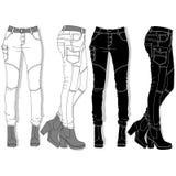 Kvinnlig jeans illustration royaltyfri illustrationer