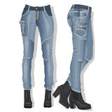 Kvinnlig jeans vektor royaltyfri illustrationer