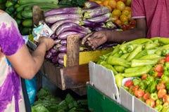 Kvinnlig köpare som betalar med kassa, når att ha köpt grönsaker på den manliga marknaden i Maldiverna royaltyfria foton