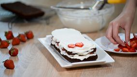 Kvinnlig kaka för kockdanandechoklad med jordgubbar arkivfilmer