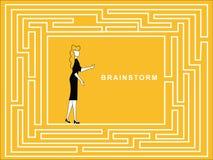 Kvinnlig kläckning av ideer i pusselbana vektor illustrationer