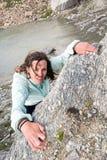 Kvinnlig klättrare Arkivbilder