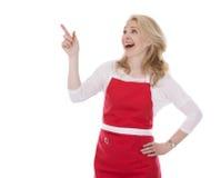 Kvinnlig kock i förkläde arkivfoton