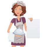 Kvinnlig kock med menyn också vektor för coreldrawillustration Royaltyfri Foto